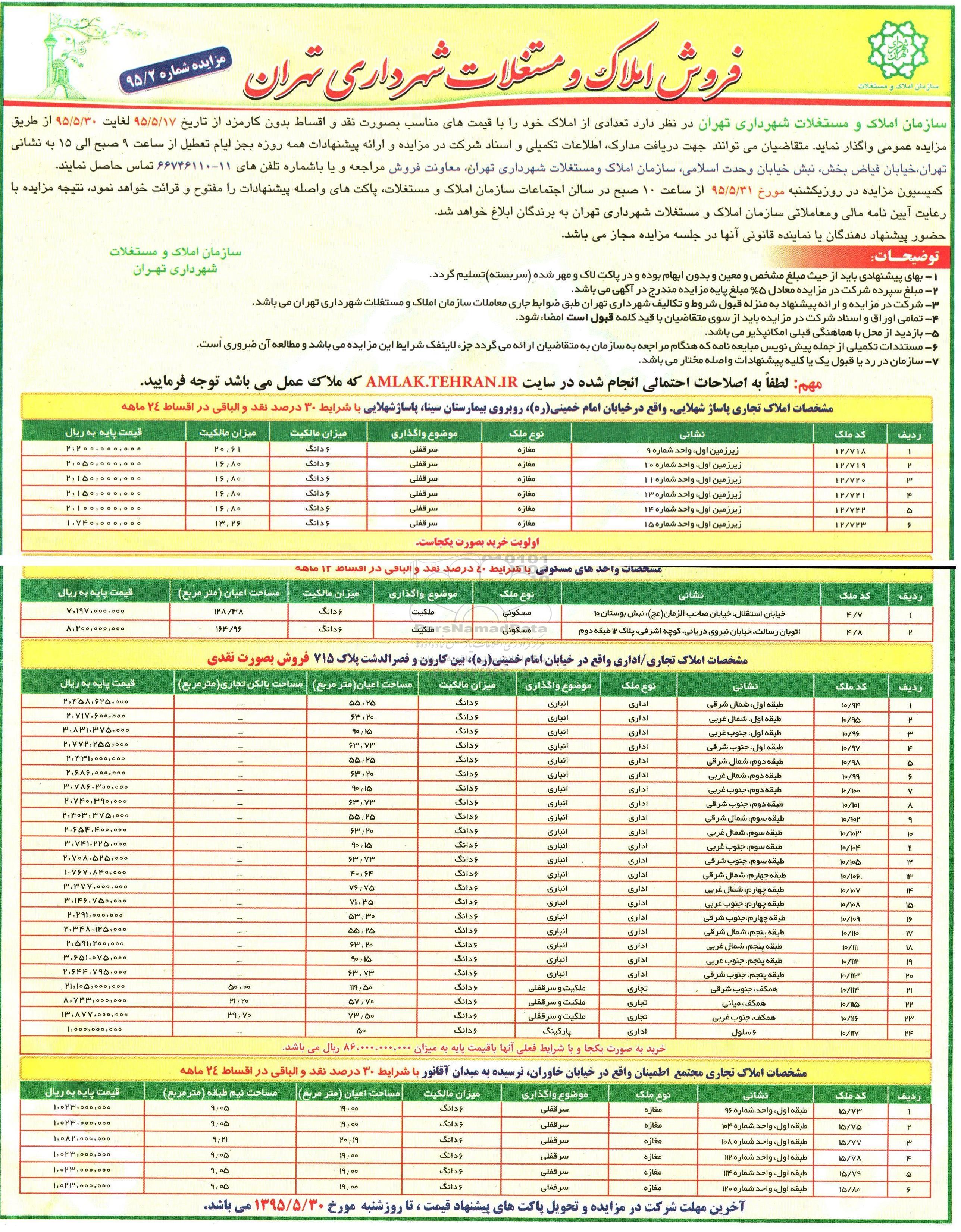 مزایده فروش ملک در تهران